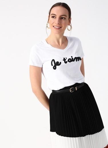 Beymen Studio Beymen Studio V Yaka Beyaz T-Shirt Beyaz